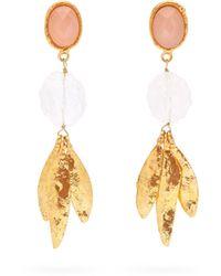 Alexander McQueen Yellow Quartz & 18kt Rose Gold Shell Charm