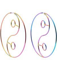 Lynn Ban - Yin Yang Rhodium Plated Hoop Earrings - Lyst