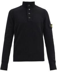 Stone Island Logo-patch Quarter-zip Wool-blend Sweater - Black