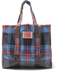 Charles Jeffrey LOVERBOY Logo-patch Tartan Coated-twill Tote Bag - Blue