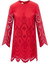 Valentino カットアウト ウールシルクドレス - レッド