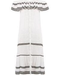 634e2e5765 Lisa Marie Fernandez - Mira Ruffle Trimmed Button Through Linen Dress - Lyst