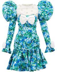 Richard Quinn Puff-shoulder Crystal-trim Floral-print Dress - Blue