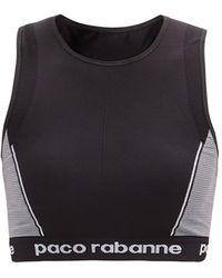 Paco Rabanne Logo-jacquard Sports Bra - Black