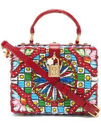 Dolce & Gabbana ドルチェボックス カレット ラタンバッグ - マルチカラー