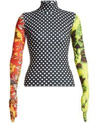 Richard Quinn - Floral Print High Neck Stretch Jersey Top - Lyst