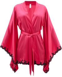 Agent Provocateur Molly Lace-trimmed Satin Robe - Pink