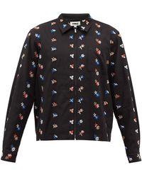 YMC ボウイ フローラルエンブロイダリー ツイルシャツ - ブラック