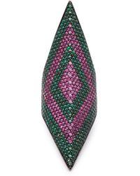 Lynn Ban - Prism Rhodium Plated Ring - Lyst