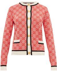 Gucci Gg Logo Jacquard Wool Blend Cardigan - Red