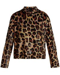 Ashish Leopard Print Sequined Top - Brown