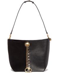 See By Chloé Gaia Medium Suede And Grained-leather Tote Bag - Black