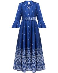 Gül Hürgel Geometric Print Linen Midi Dress - Blue