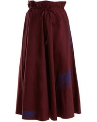 Acne | Embroidered Paperbag-waist Cotton Midi Skirt | Lyst