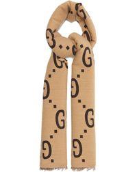 Gucci GGジャカード ウールシルク スカーフ - ナチュラル