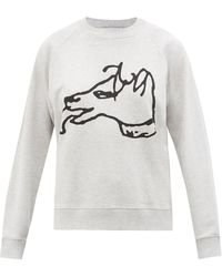 Bella Freud Dog-print Cotton-jersey Sweatshirt - Gray