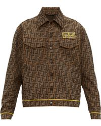 Fendi Logo Patch Ff Jacquard Canvas Jacket - Brown