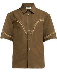 Saint Laurent Floral-embroidered Cotton-blend Shirt - Green