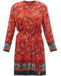 Chufy Najima Peacock-print Satin-crepe Shirtdress - Red