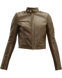 Bottega Veneta Cropped Leather Biker Jacket - Natural