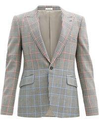 Alexander McQueen バイカラーチェック ウールツイルスーツジャケット - グレー
