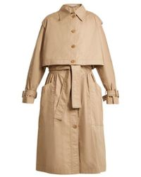 Stella McCartney - Caban Elasticated-waist Cotton Trench Coat - Lyst