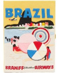 Olympia Le-Tan Pochette en toile à broderie Brazil - Multicolore