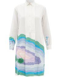 Kilometre Paris Ojo De Agua Embroidered Cotton-khadi Shirt Dress - White