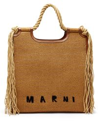 Marni Marcel Large Faux-raffia Tote Bag - Brown