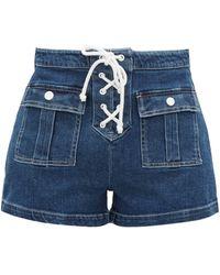 Solid & Striped High-rise Denim Shorts - Blue