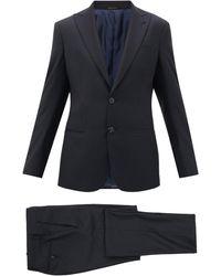 Giorgio Armani バージンウールツイル シングルスーツ - ブルー