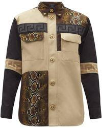 Versace パッチワーク コットンツイルシャツ - マルチカラー