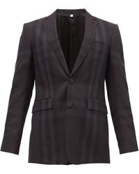 Burberry - チェック ウール シングルスーツジャケット - Lyst
