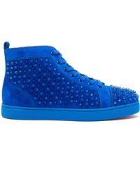 Christian Louboutin Louis Flat Suede Sneakers - Blue