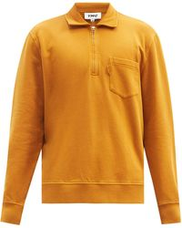 YMC Sugden Quarter-zip Cotton-jersey Sweatshirt - Yellow