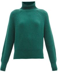 Allude Ribbed Cashmere Roll-neck Jumper - Green