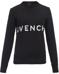 Givenchy ロゴインターシャ ワッフルニット コットンセーター - ブラック