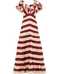 Johanna Ortiz Conocimiento Striped Silk-charmeuse Gown - Red