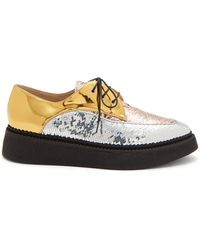N°21 - Sequin Embellished Leather Lace Up Creepers - Lyst