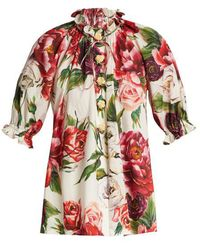 Dolce & Gabbana - Peony And Rose-print Cotton-poplin Top - Lyst