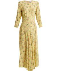 Raey - Bracelet Sleeve Acid Tree-print Silk Dress - Lyst