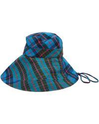 Lola Hats Bob en coton à carreaux Georges - Bleu