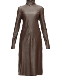 Bottega Veneta ハイネック レザードレス - ブラウン