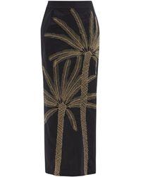 Le Sirenuse Palm-embroidered Cotton Maxi Skirt - Black