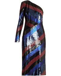 Diane von Furstenberg One-shoulder Striped Sequin Dress - Blue