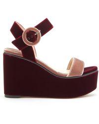 Jimmy Choo Abigail 100 Two-tone Velvet Wedge Platform Sandals - Red