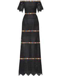Carolina Herrera フローラルトリム レースドレス - ブラック