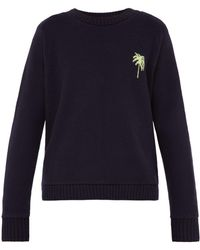 The Elder Statesman - Palm Tree Intarsia Cashmere Sweater - Lyst