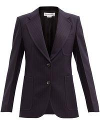 Victoria Beckham ストライプ バージンウールツイルジャケット - ブルー