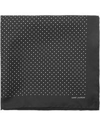 Saint Laurent Polka Dot Print Silk Pocket Square - Black
